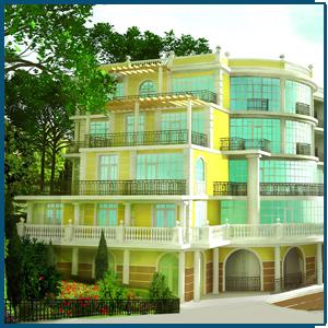 Гостиница  с 1,2,3, комнатными  апартаментами в г. Алупке